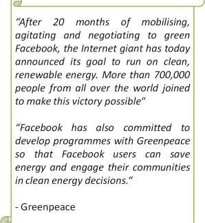 Facebook convinced to shift to Renewable energy