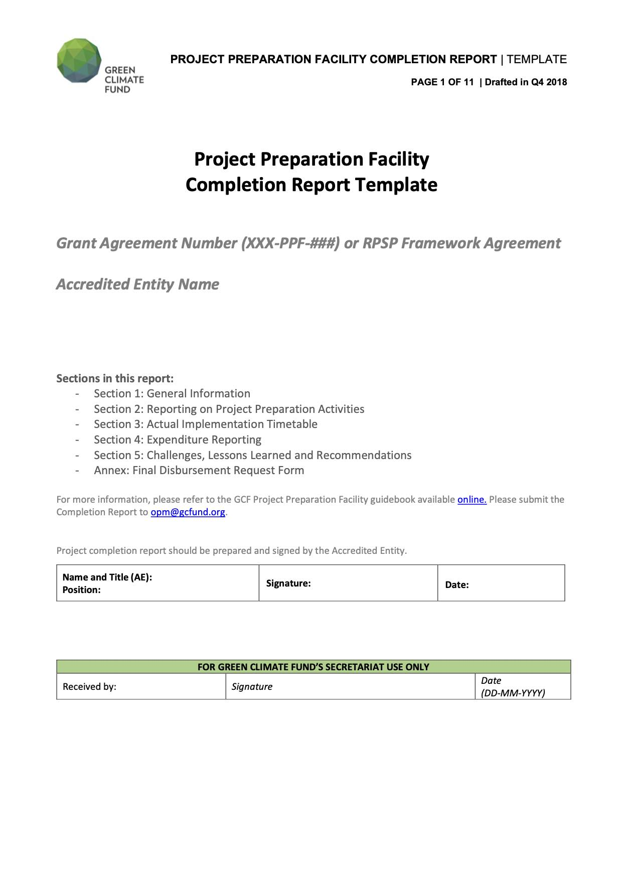 Project Preparation Facility Completion Report Template
