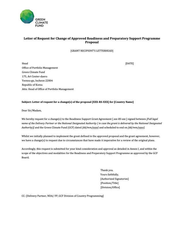 Letter of Request for Change of Approved Readiness and Preparatory