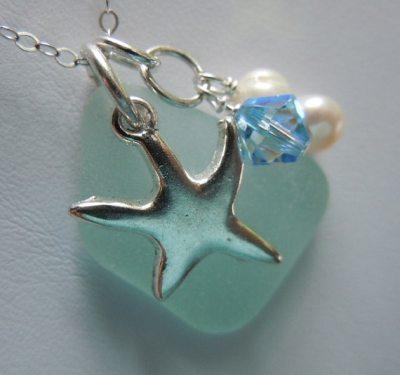 Aqua Beach Glass Jewelry