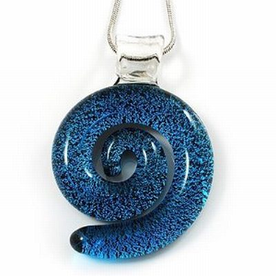 Blue Glass Snail Pendant