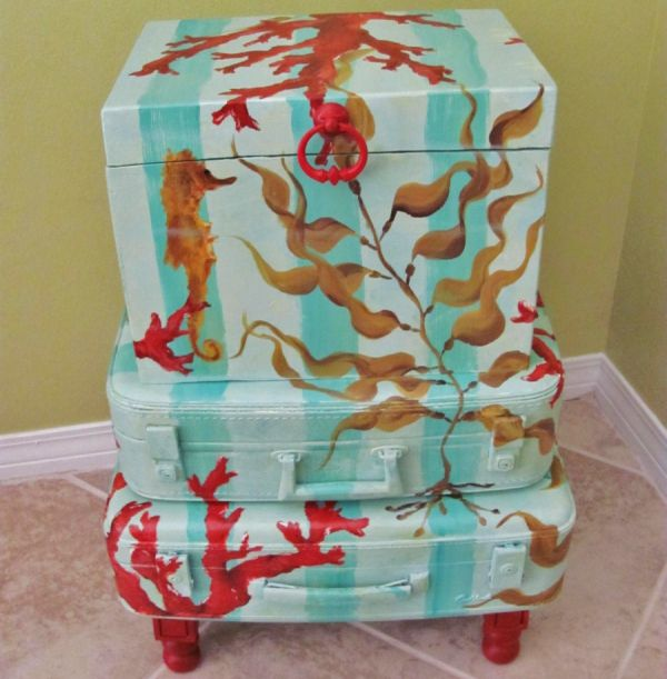 Hand-painted vintage suitcase table