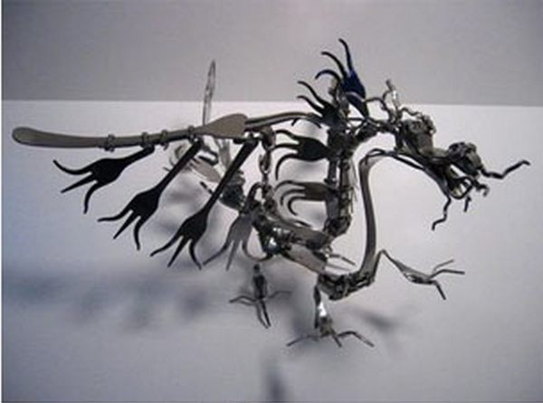 Recycled fork dragon