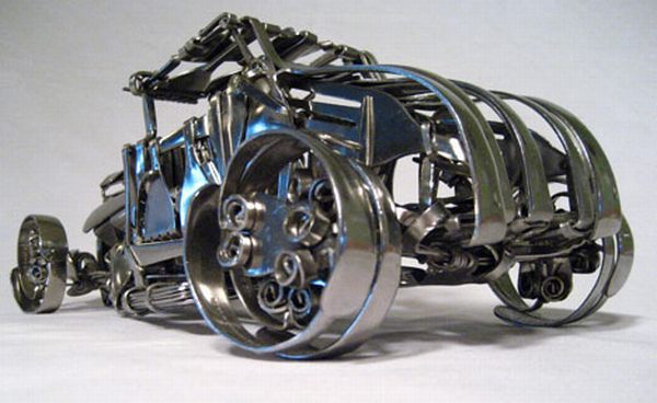 Recycled metal fork vehicle