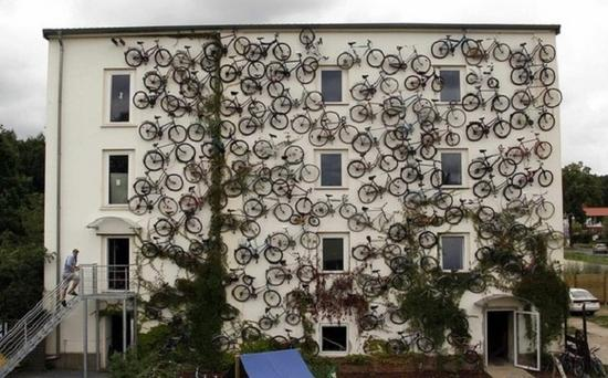unusual bike shop features bicycle bedecked faade