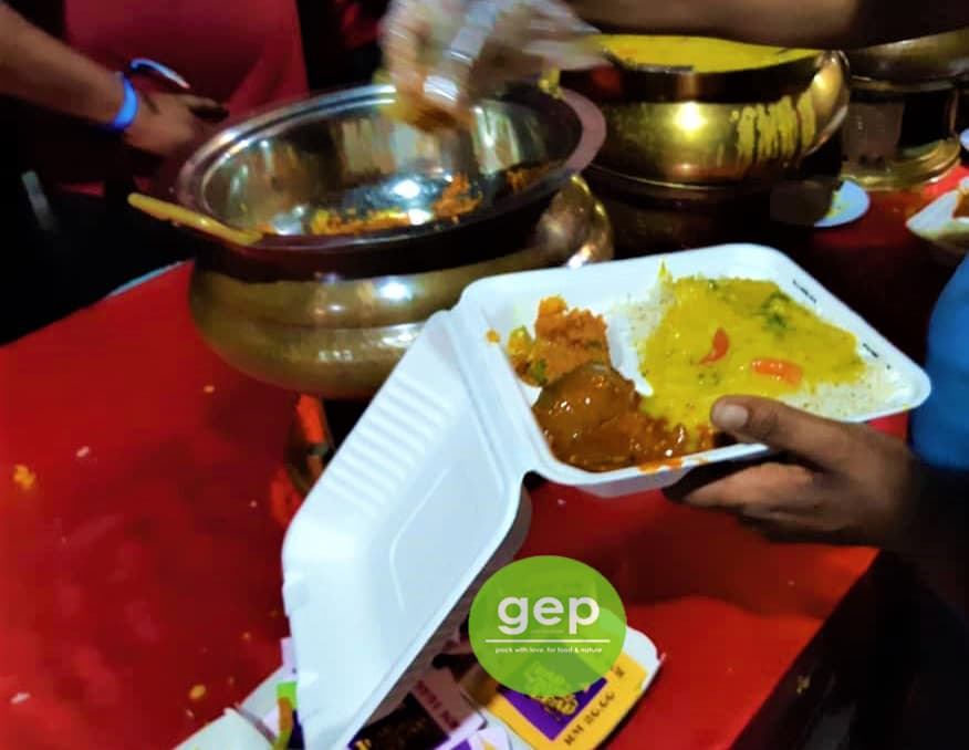 Biodegradable lunch box for an Indian set meal.
