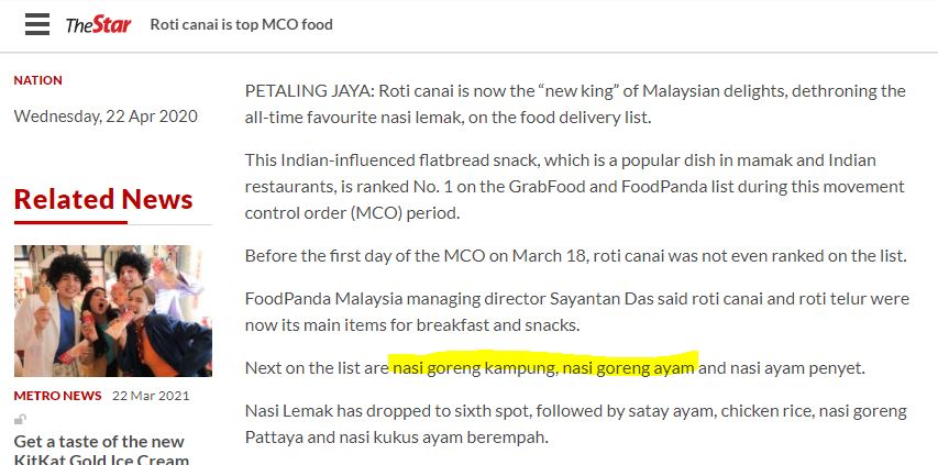 Fried Rice is right behind roti canai during the MCO period.