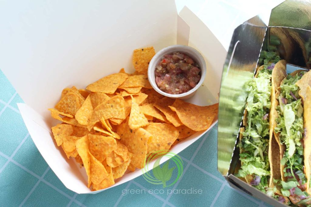 Biodegradable sauce cup to serve salsa with box of chips