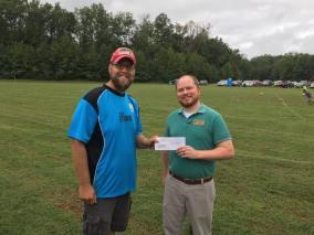 Brandon presenting the 2016 Grant Award check to Steve Corbin of the Greene County Soccer Association
