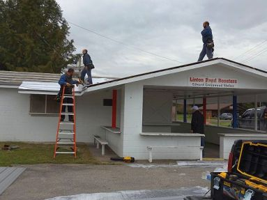 Improvements being made to the Linton Band Boosters building, made possible by 2018 Community Support Grant funds.