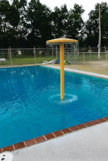 New water feature installed at Linton's A. M. Risher Memorial Swimming Pool, funded by a Community Support Grant from the Foundation