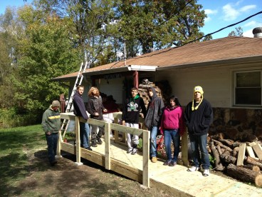 Students build ramps for Habitat home
