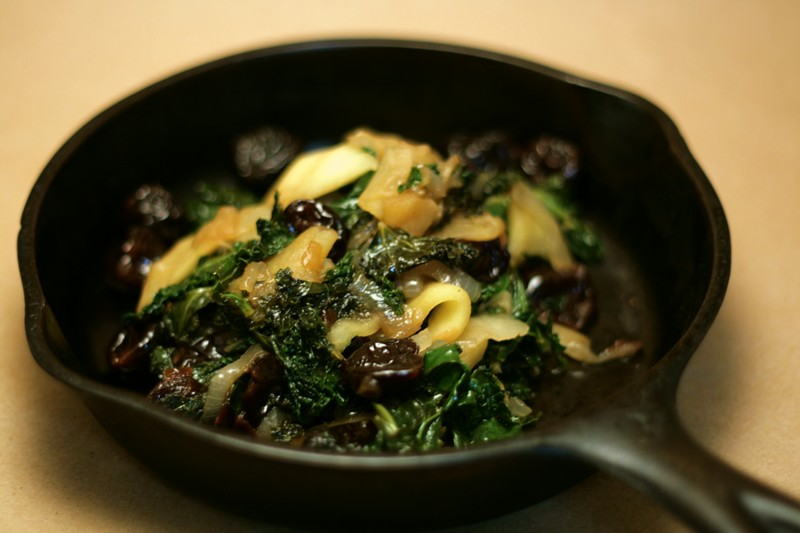 Braised Kale with Apples and Cherries