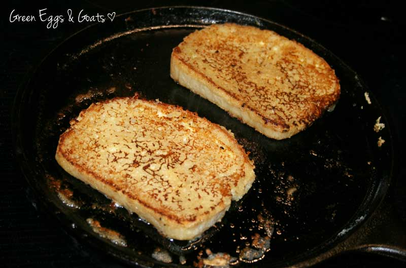French toast cooking in pan - Green Eggs & Goats