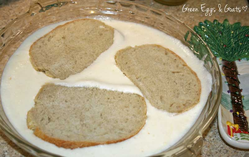 bread slices soaking in eggnog - Green Eggs & Goats