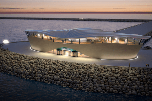A tidal power plant being developed in Swansea Bay, south Wales in the UK. Image: Tidal Lagoon Swansea