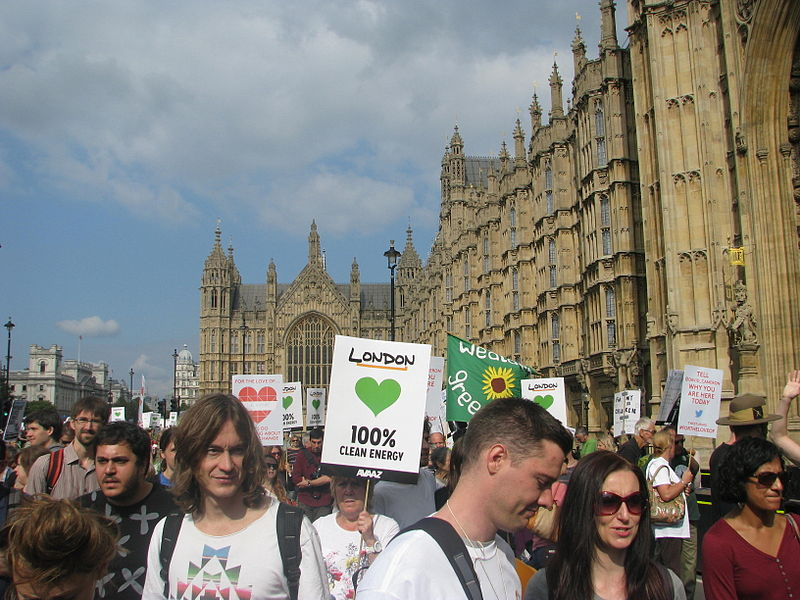 """March Against Climate Change, September 2014. """"Margaret Thatcher was the first ever world leader to sound the alarm."""" Photo by peganum from Henfield, England. Wikimedia Commons."""