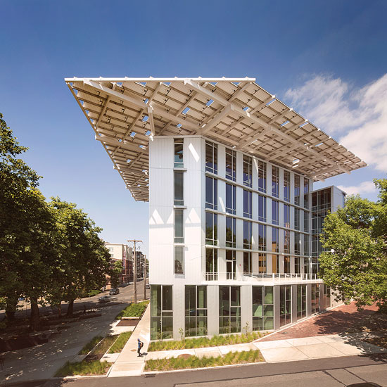 The Bullitt Center, a state-of-the-art office building in Seattle, Washington, showcases solar's vast potential, even in cloudy locales. Photo by Nic Lehoux