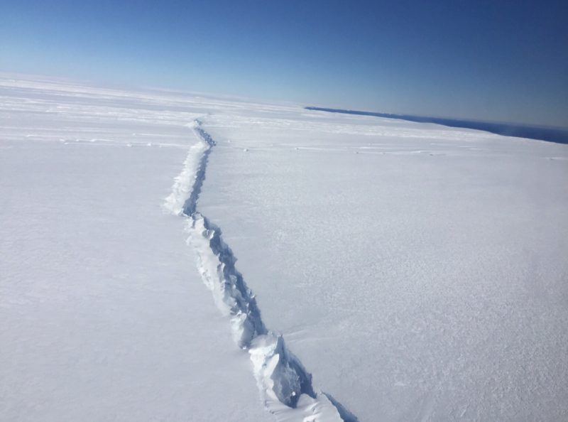 Rift in Antarctic glacier twenty miles from the sea