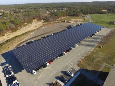 Solar canopy at Upper Cape Cod Regional Technical High School