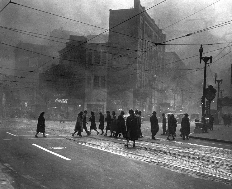 Pittsburgh, before environmental regulations, in the 1950s (via Twitter)