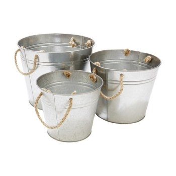 Metal Planter Bucket Set Apartment Living