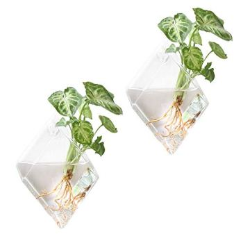 Mkono Diamond Wall Terrarium Glass Planter Apartment Living