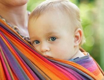 Das Babytragetuch wird gerne genutzt