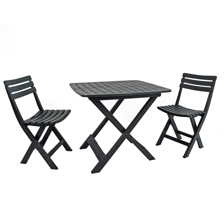 Brescia Folding Table With 2 Brescia Chairs Set Anthracite