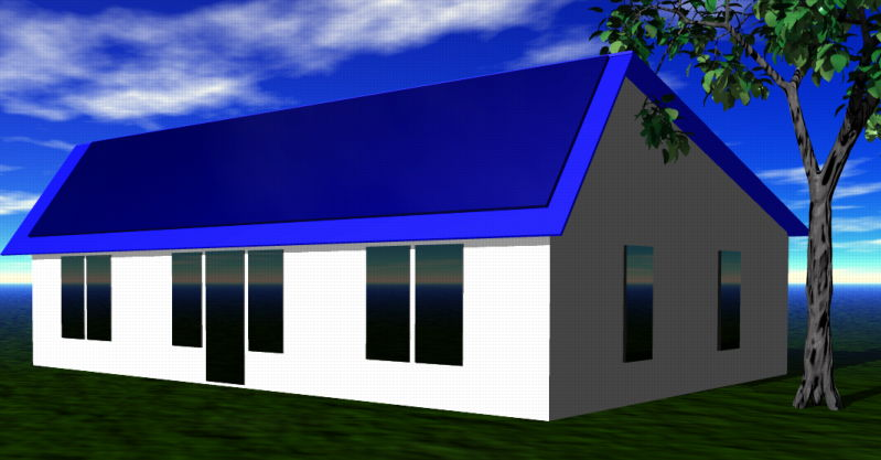 Small single level house with a steep front roof.
