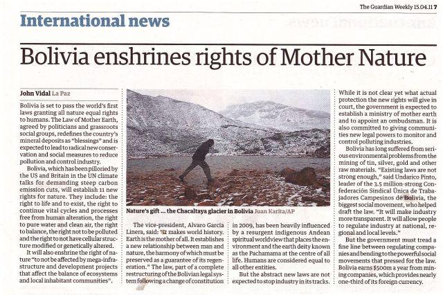 Bolivia recognizes Mother Nature