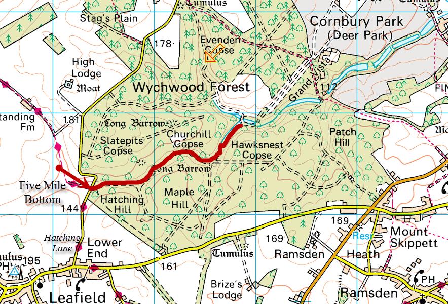 The walk starts at Five Mile Bottom, near Leafield