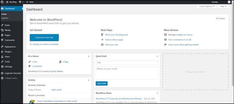 Wordpress dashboard -adding content