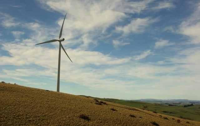 Wind turbine on hill