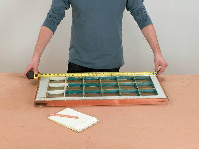 Measuring window - Reclaimed window cabinet