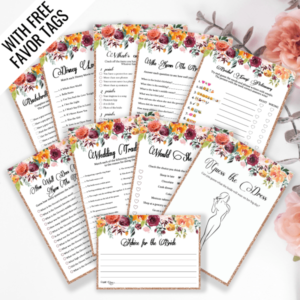 Printable bridal shower games