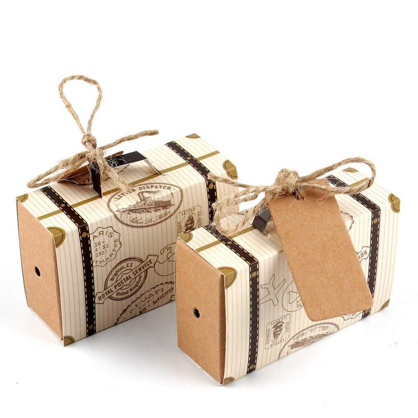 Travelling from miss to mrs rustic suitcase favor boxes