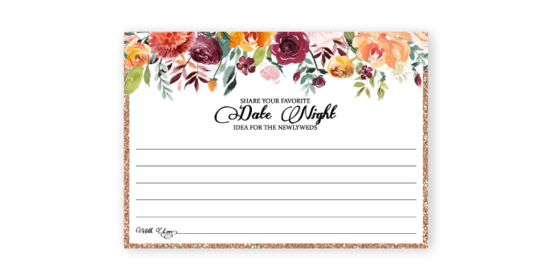 Date night cards are perfect bridal shower activities that are not games