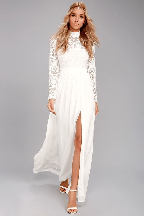 White long sleeve lace maxi dress