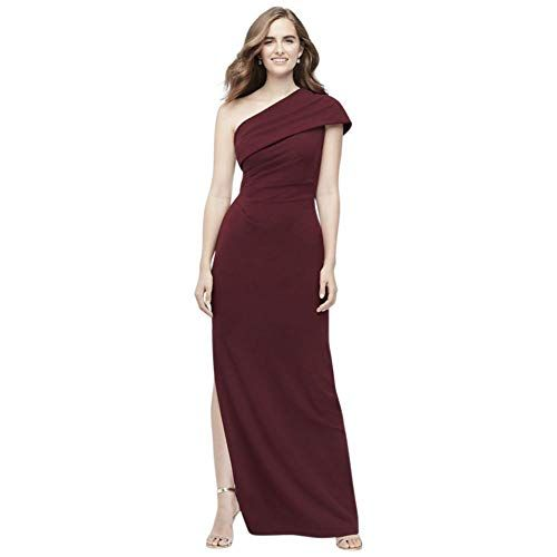 Ruched one shoulder crepe bridesmaid dress