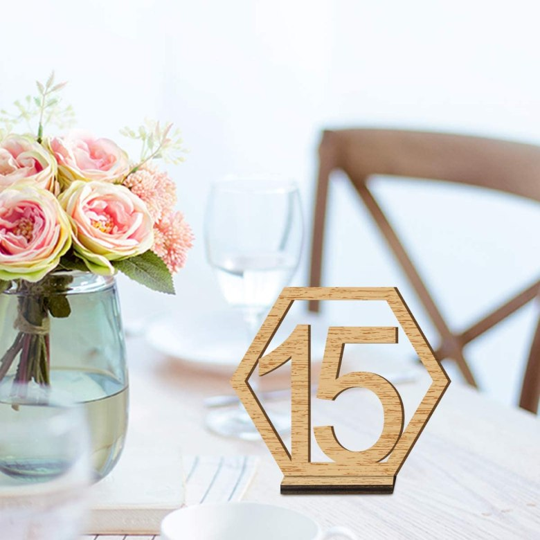 Wedding Wooden Table Number with Base