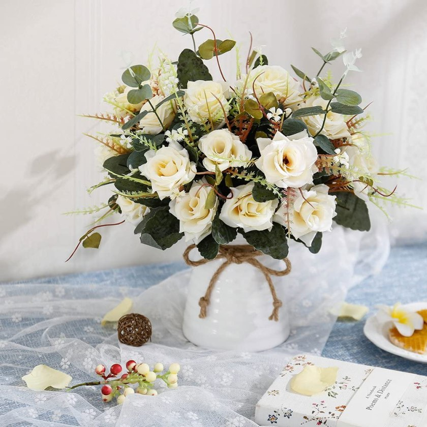 Artificial Rose Bouquets with Ceramics Vase Elegant Wedding Centerpieces