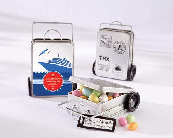 Mini suitcase adventure favor tins for bridal shower