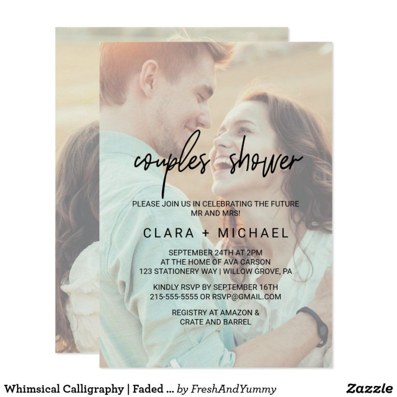 Whimsical couple shower invitations