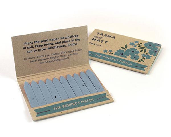 Wildflower seed paper matchbook favors
