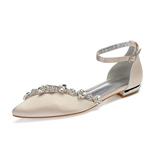 LLBubble Women Satin Crystals Wedding Flats Shoes for Bride