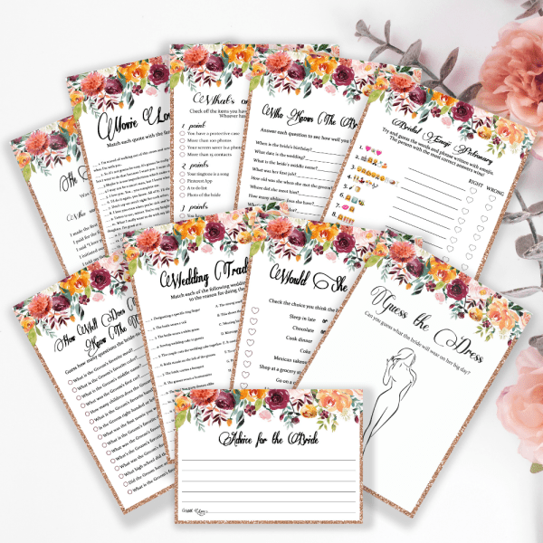 10 bridal shower games bundle