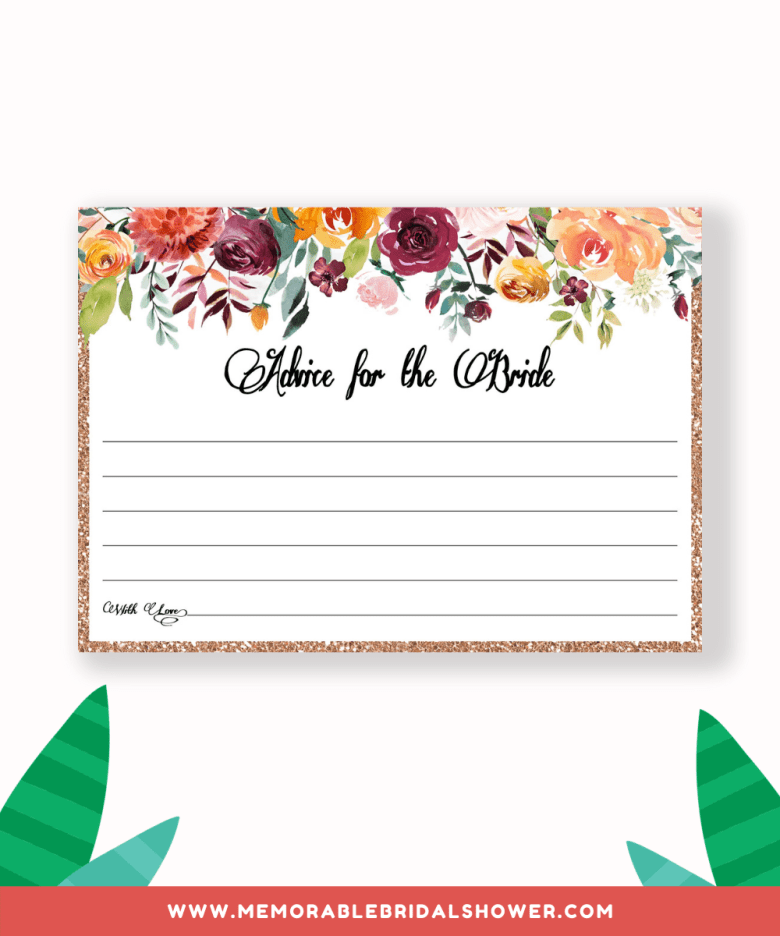 Advice for the bride card from greeninmay.com