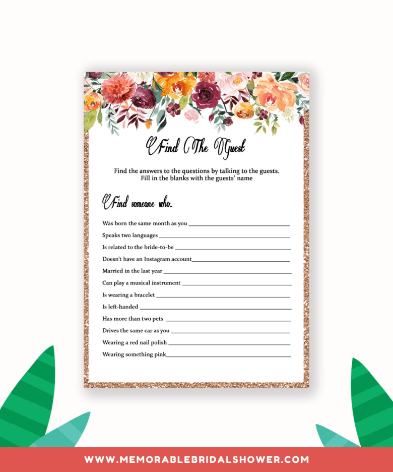 Find the guest bridal shower game from greeninmay.com