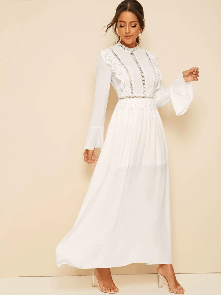 Lace Insert Fit & Flare White Bridal Shower Dresses for the Bride